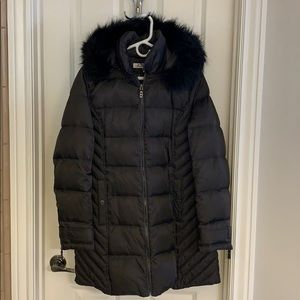 Charcoal gray down jacket with fur hood Large